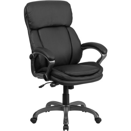 black leather executive swivel office chair with lumbar support knob